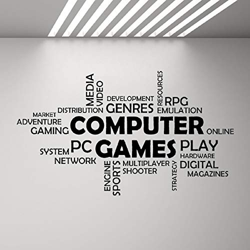 WWYJN Word Cloud Computer Games Wall Vinyl Decal Boys Bedroom Decor Multiplayer Media Mural Decals Quotes Art Stickers Game Zone Black 73x42 cm - Stoff Kindle Fall
