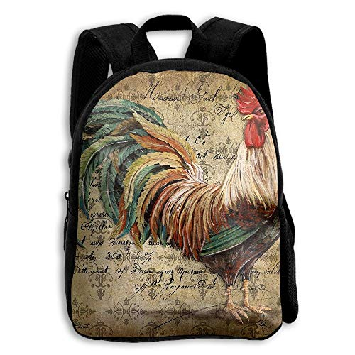 ADGBag Children Boys Girls Retro Rooster Backpack Shoulder Bag Book Scholl Travel Backpack Kinderrucksack Rucksack Retro Rooster
