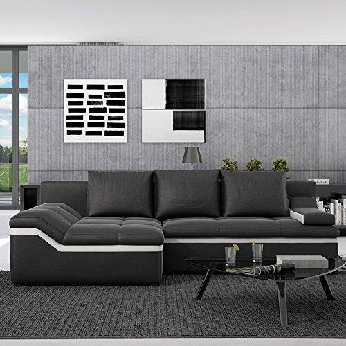 Innocent Sofa mit Schlaffunktion und Ottomane Kunstleder schwarz Bodoni Ottomane Links