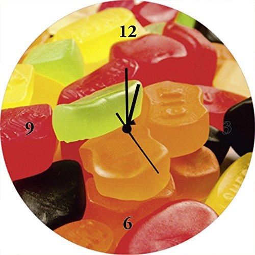 Artland Wand-Analog-Funk-Quarz-Uhr Digital-Druck auf Echt Glas mit Motiv Riweda Weingummis...
