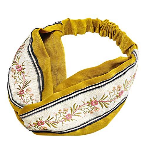 CommittedeElastische Stirnband Nationale Stickerei, Frauen Baumwolle Gestrickte Stirnbänder Dehnbar Haarband Weiche Turban-Kopf-Verpackungs für Alltag Yoga Sport Mode -
