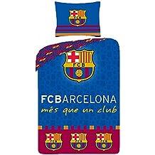 (8010BL) JUEGO FUNDA NÓRDICA FC Barcelona REVERSIBLE 160X200CM ( para cama de 90x190-200cm) Y FUNFA COJÍN 70X80CM (8010BL)