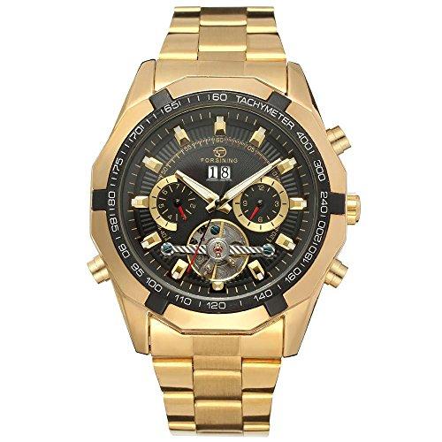XLORDX Luxus Herren Datum Mechanische Automatik Uhr Skelett Gold Edelstahl Armbanduhr Sportuhr Schwarz