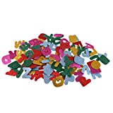 Prettyia 200 Stück 5 Farben Selbstklebende Schaumstoff Glitzer Aufkleber Filzstoff Bastelfilz - Buchstaben