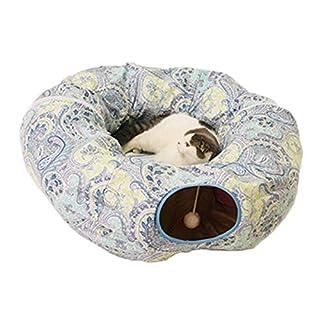 PerGrate Katzenspielzeug für Haustiere, Spielzeug, Tunnel, lustig und faltbar, Tunnel, für Badewanne für Haustiere, Katze, Weiche Katze, Kätzchen, Bett, Haus, blau, Round