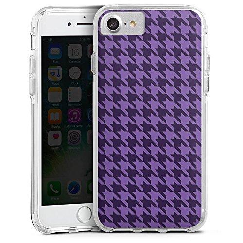 Apple iPhone 6s Bumper Hülle Bumper Case Glitzer Hülle Hahnentritt Lila Punkte Bumper Case transparent