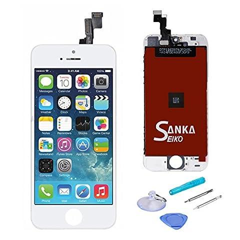SANKA Ecran LCD Vitre Tactile de Remplacement Retina Display Complet pour iPhone SE avec Outils de Réparation,Blanc