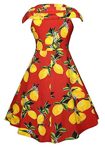 Le donne annata 1950 della stampa floreale Party Dress scollo a V abito da cocktail swing Cap Sleeve - Limone Stampa Red