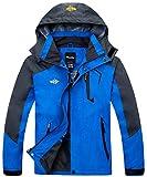Wantdo Men's Waterproof Rain Jacket Hooded Windbreaker Hiking Jacket Multi-Pockets Blue Small