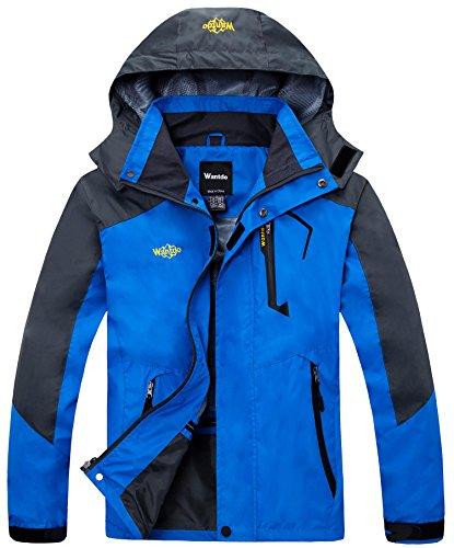 Wantdo Herren Wasserdicht Wanderjacke Regenjacke mit Kapuze Blau X-Large