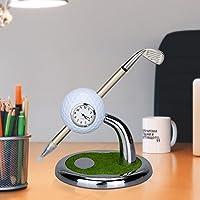 World 9.99 Mall Golf Geschenk,Mini Desktop Golf Uhr Kugelschreiber Stand mit Golf Stifte 2pcs Satz Golf Souvenir Tour Souvenir Neuheit Geschenk,Schreibtisch Deko Stiftehalter mit