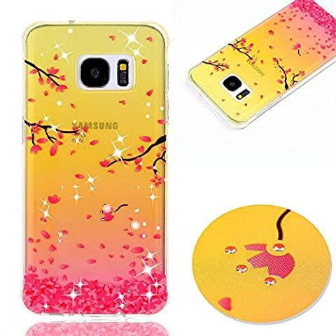 Samsung Galaxy S7 Case Cover, Fanryn Colorful pattern Glitter Bling Diamonds Gems Transparent Clear Soft TPU Bumper Back Cover Skin Protective Cover Cell Phone Case for Samsung Galaxy S7 - Cherry