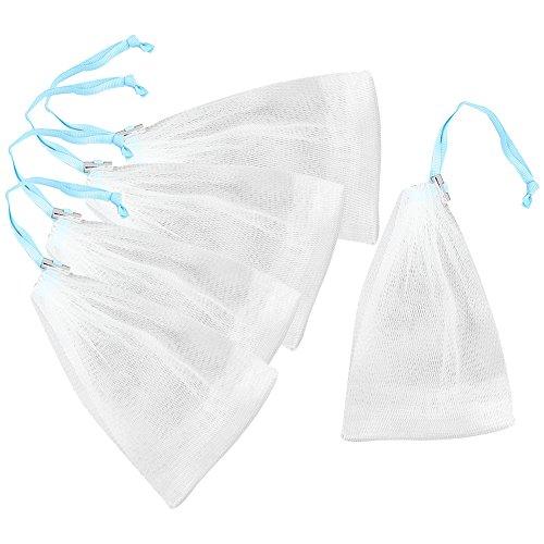 com-four® 5X Seifenbeutel, transparente Seifensäckchen mit blauem Seidenband und Metallverschluss (05 Stück - weiß/blau) -