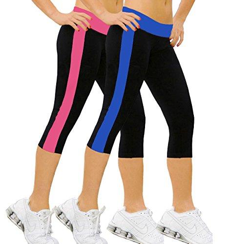 iLoveSIA Pantalons de sport Femme Jogging YOGA Leggings 2PCS PACK 3/4 (Fushia+Bleu marine)