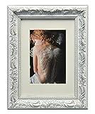 WOLTU #167 Bilderrahmen, Foto Collage, Holz Rahmen, Pappe Rückseite, Glas Vorderseite, zum Aufstellen und Aufhängen im Querformat und Hochformat, Barock design, Weiß (30x40 cm)