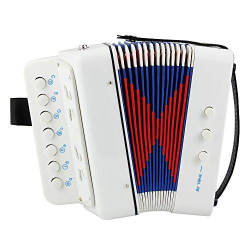 Htianc Klein Akkordeon, Ziehharmonika für Kinder anfänger, 7 Tasten, 2 Bässe, weiß