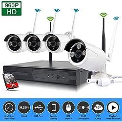 SIBO® interior/exterior 1TB Disco duro 4canales inalámbrico Wifi NVR Kit HD 1280* 960P IR Día/visión nocturna cámara IP P2P CCTV sistema de vigilancia de seguridad sb-wifikit04–960p-1tb