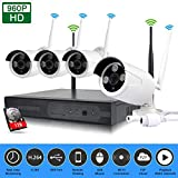 EDSSZ® Innen / Außen 1 TB HDD 4 Kanäle Wireless WIFI NVR Kit HD 1280 * 960 P IR Tag / Nachtsicht IP Kamera P2P CCTV Sicherheitsüberwachungssystem EDS-WIFIKIT04-960P-1TB