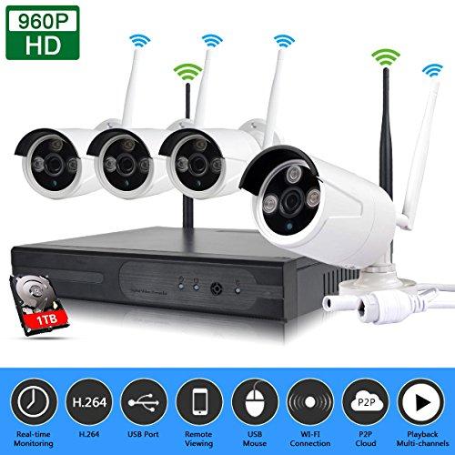 EDSSZ Innen / Außen 1 TB HDD 4 Kanäle Wireless WIFI NVR Kit HD 1280 * 960 P IR Tag / Nachtsicht IP Kamera P2P CCTV Sicherheitsüberwachungssystem EDS-WIFIKIT04-960P-1TB