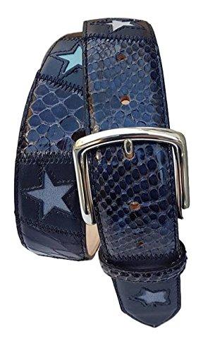ESPERANTO Cinturón de piel de ante y pitón de 4 cm con hebilla hipoalergénica y forro de nobuk - Estrella azul (TAMANO 50-MISURA TOTAL 125 CM-CONEXION 110 CM)