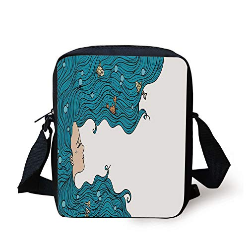Mermaid Decor,Girl with Big Hair Hairstyle Fly Away Fairytale Sleeping Crab Imaginary Artwork Decorative, Print Kids Crossbody Messenger Bag Purse (Little Mermaid Hair Bow)