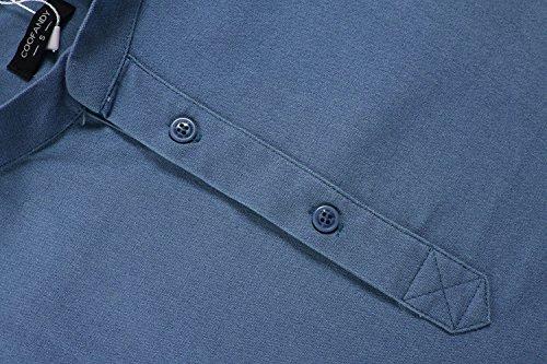 Aulei herren Langarmshirt slim fit Stehkragen mit Knöpfe aus Baumwolle mit Leinen super bequem Blau