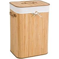 TecTake Panier à linge robuste corbeille en bambou bac à linge pliable + sac à linge amovible - diverses modèles - (72L naturel | no. 401836)