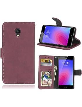Funda Meizu M6 Meiblue 6 Meilan 6 Case,Bookstyle 3 Card Slot PU Cuero cartera para TPU Silicone Case Cover(Rosa)