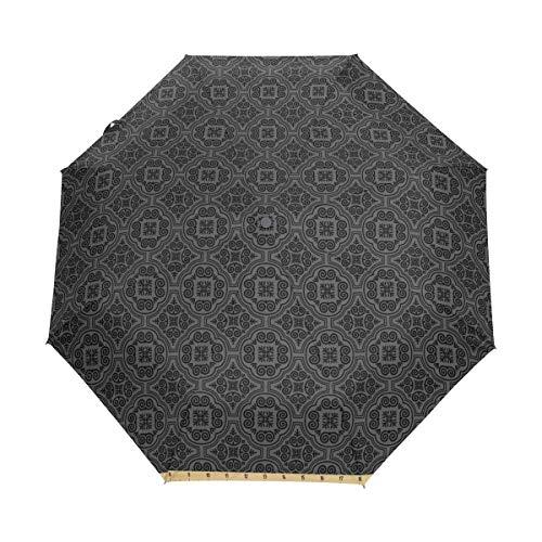 Duilly ombrello automatico apri/chiudi,motivi floreali barocchi veneziani mosaico medievale elementi di design gotico,ombrello pieghevole pieghevole antivento,ad asciugatura rapida
