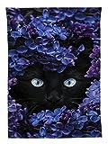 YISUMEI Tapisserie Wandbehang,Violette Schwarze Katze Wandteppich Wohnzimmer Schlafzimmer Wand Decor Couch Bezug Strandtuch Picknick Tuch,150x230cm