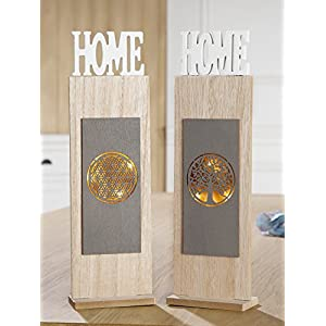1 x Ständer Home 6-LED Holz Lebensblume/Baum Höhe 36,5 cm, Frühling, Deko (rechts (Stückpreis))