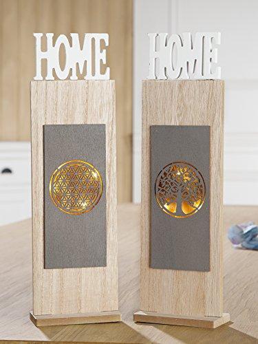 Homestyles Holz Top (Gilde Holz Ständer 6-LED HOME Lebensblume H 40 cm)
