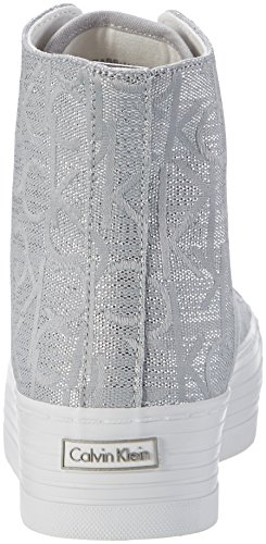 Calvin Klein Jeans Damen Zabrina Metallic Jacquard High-Top Silber (Lsr)