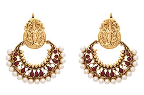 JFL - Traditional Ethnic Temple Kemp Red One Gram Gold Plated Ramleela Earrings studded with Polki and Pearls for Women and Girls  available at amazon for Rs.1489