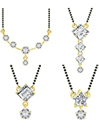 Jewels Galaxy American Diamond Mangalsutra Set(Combo Of 4) For Women