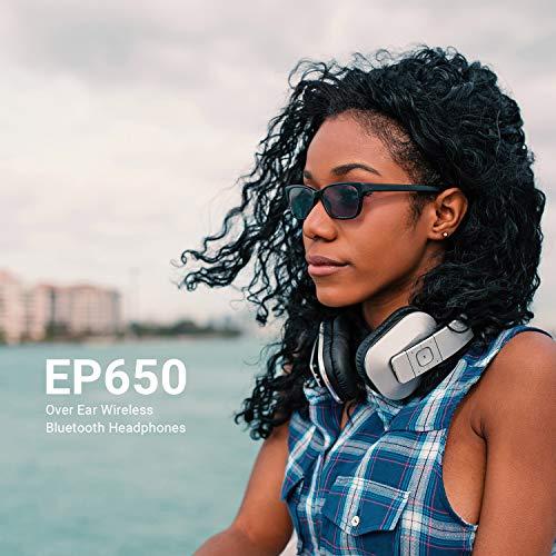 August EP650 Bluetooth v4.2 NFC Kopfhörer mit aptX Low Latency – Kabellose Over-Ear Headphones mit individuellem Sound (silber) - 4