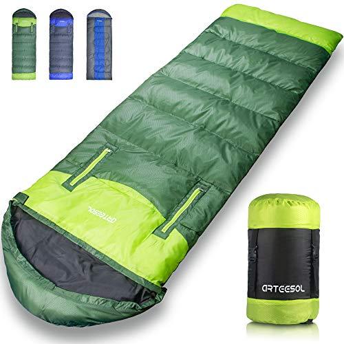 arteesol Reachable Mummy Schlafsack wasserdichte Hohle Baumwollfüllung für Kinder, Jugendliche, Erwachsene 7 Jahreszeiten Camping, Wandern, Outdoor