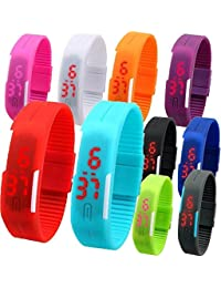 Pappi Boss Multi-Colour Digital Set Of 8 Led Bands Watch For Kids