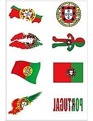 Hemore Football Tatouages Drapeau Autocollants [8 Pièces] 2018 Coupe du Monde Football Fans Portugal Drapeaux Tatouage