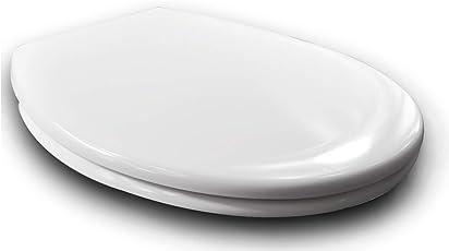 WOLTU #62 Copriwater Sedile WC Universale/Chiusura Ammortizzata/Soft Close Toilet Seat Bagno in Duroplast Antibatterico Cerniera in Acciaio Inossidabile Carico 200kg