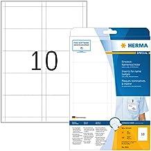 Herma 9011 Einsteckkarten f. Plastik Namensschilder u. Ausweishüllen, 250 Stück (90 x 54 mm) 25 Blatt A4 Karton weiß, bedruckbar, nicht klebend