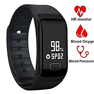 Fitness Tracker, UWATCH Fitness Armbanduhr Wasserdicht Fitness Tracker HR mit Herzfrequenz / Schlafanalyse / Kalorienzähler / Aktivitäts Tracker Schrittzähler / Blutdruck und Blutsauerstoffgehaltmessung - Smart Fitness Armband Android IOS
