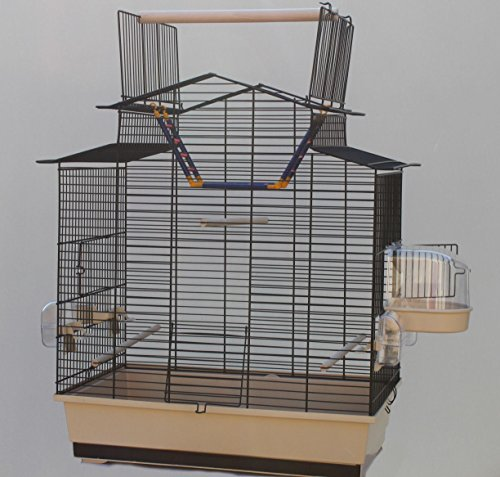Heimtiercenter Beiger Vogelkäfig IZA III Cabrio Wellensittichkäfig,Exotenkäfig,Vogelkäfig Vogelbauer Wellensittich Kanarien Voliere Vogelhaus Käfig incl. Badehaus und Trinkröhrchen …