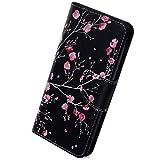 Herbests Kompatibel mit Huawei Honor 8C Bunt Leder Tasche Handyhülle Leder Flip Case Cover Brieftasche Schutzhülle Lederhülle Ständer Magnetverschluss Klappbar Handytasche,Kirschblüte