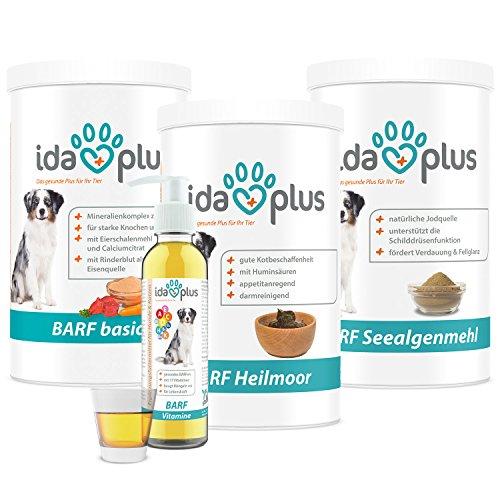 Ida Plus BARF SET 4 in 1 für Hunde - Die wichtigsten Ergänzungen für Ihre BARF-Fütterung | BARF Vitamine + Heilmoor + Basic & Seealgenmehl