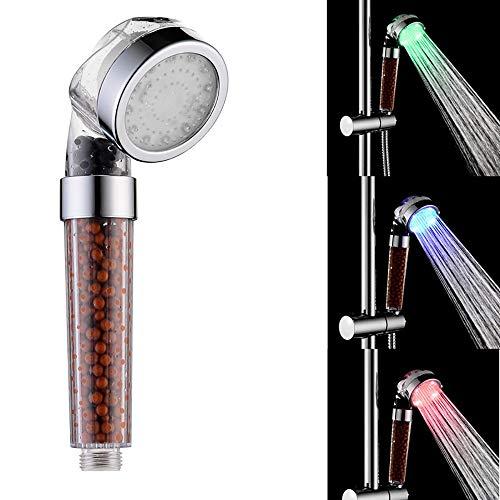 LWGHE LED Duschkopf mit Handhochdruck Duschkopf mit Filter Wassertemperaturgesteuerte 3-Farbwechsel Handbrausen Negative Ionic Showerhead Filter Duschkopf -