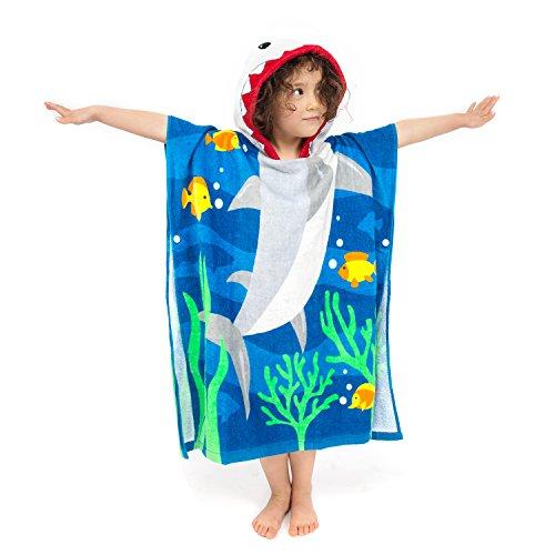 Florica 100% Baumwolle Kinder Jungen Mädchen Kapuzenponchos Schwimmen Bad Handtuch Badetuch Bademäntel (Große Hai)