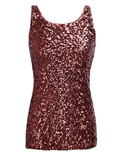 PrettyGuide,Damen Shimmer Glam Pailletten verziertes Sparkle Traegershirt, Gr. M (Herstellergroesse L), red