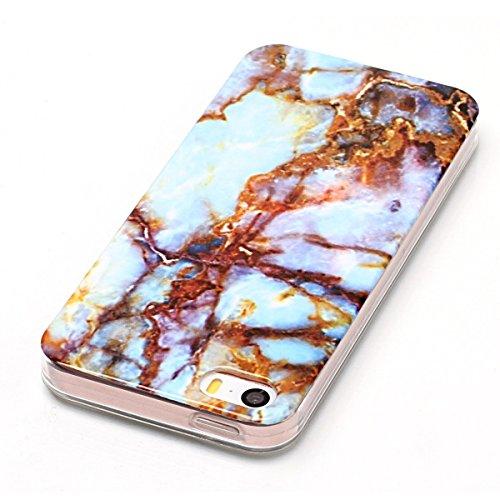 """iPhone 5s Hülle, Marble Design CLTPY iPhone SE Dünn Matt Handytasche Flexible Weich Silikon Schale Etui Transparent Bumper Stoßdämpfung Fall für 4.0"""" Apple iPhone 5/5s/SE + 1 x Stift - Milchig weiß Blau und Gold"""
