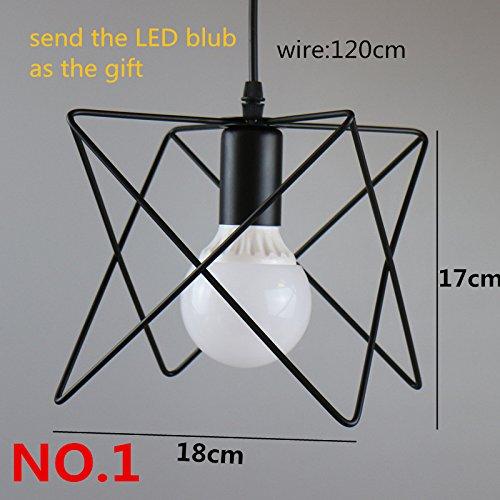 Yaojiaju Retro- Leuchten, Retro- Innenbeleuchtung Weinlese-hängendes Licht LED beleuchtet 9 Arten Eisen-Käfig-Lampenschirm-Lager-Art-Lichter LED